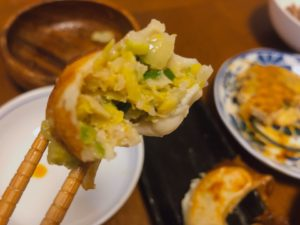 餃子の餡のアップ画像